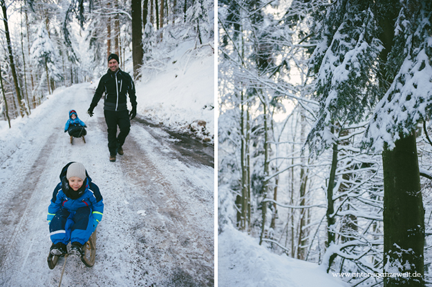 Rodel Schlittenfahren Schwarzwald mit Kindern4